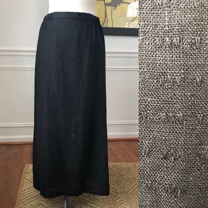 Eileen Fisher Linen Skirt Long Black Textured M